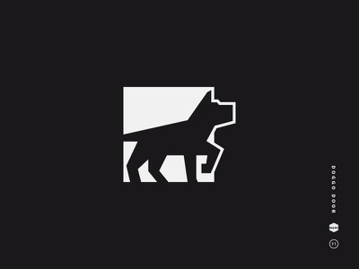 Doggo Door black and white logo mark icon symbol pupper doggo dog door doggie doggy puppy