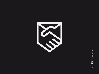 Remitly black and white logo mark icon symbol hand shield handshake envelop trust abstract crest