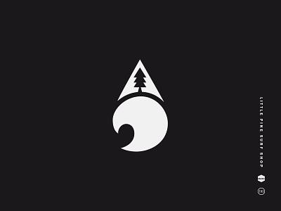 Little Pine Surf Shop west coast wave tree symbol surf shop pnw little mark logo black and white pine