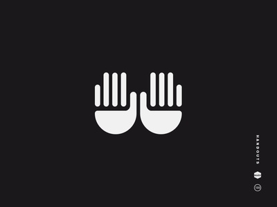 Handouts black and white logo mark icon symbol hands hand out handout palm fingers beg