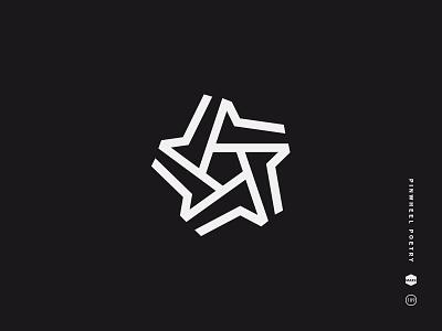 Pinwheel black and white logo mark icon symbol pinwheel star pentagon stellar lines simple shape