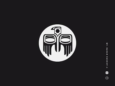 Mt. Baker Seshup 2 symbol american native baker mt. logo illustration icon hands eyes black and white bird