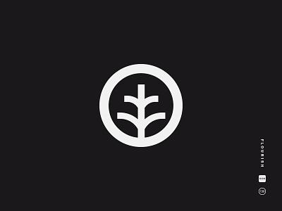 Flourish black and white logo mark icon symbol plant grow simple sapling tree sprout flourish