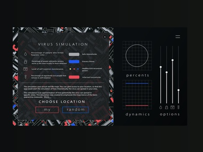 Web design for COVID-19 simulation minimalist science medecine red blue color map simulation website webdesign web dark retro modern playfull play covid 19 covid