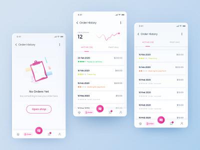 Healthcare App startup mobile white menu history design order healthcare uxui ui application app
