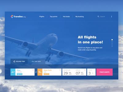 Travelino - startscreen of search flights website
