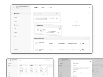 Prototypes of CRM interface dashboad modules table grayscale concept interface wireframes prototypes