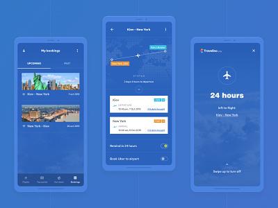 Travelino - Traveling App userinterface ui tickets searching trip flights travel traveling plane blue application app