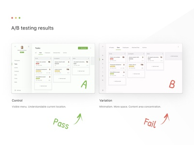 A/B testing minimalism variants interface ux design ui design ui  ux results fail pass testing research