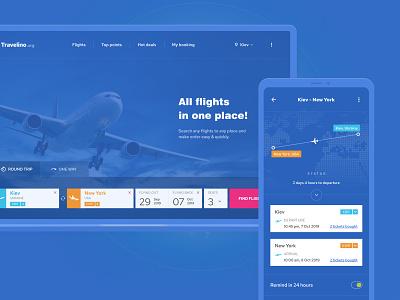 Travelino - Searching & Ordering Flights schedule desktop mobile app search plane flights travel traveling user experience ui