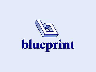 Blueprint Logo blue geometric serif brand branding mark system identity logo