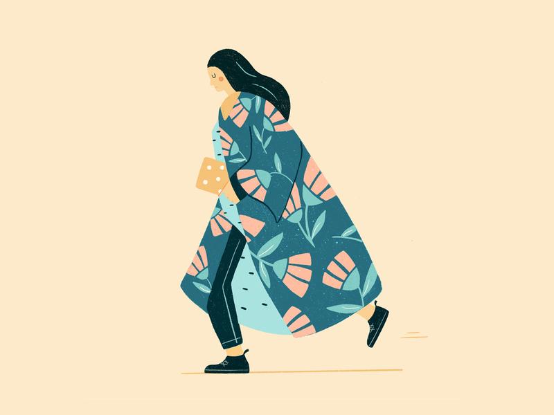 Girl in a floral coat girl illustration procreate coat of arms floral girl coat illustration