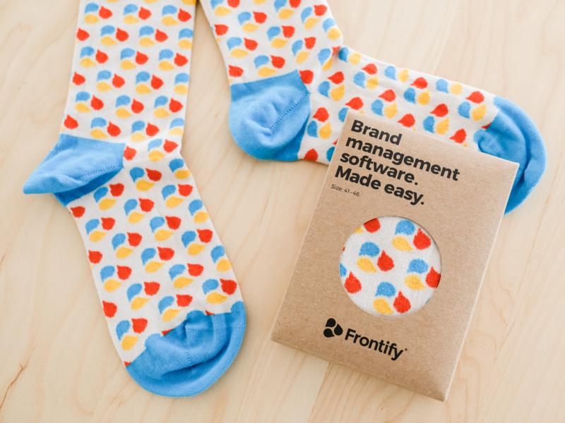 Frontisocks branding give away giveaway marketing material frontify socket sock design branded socks socks