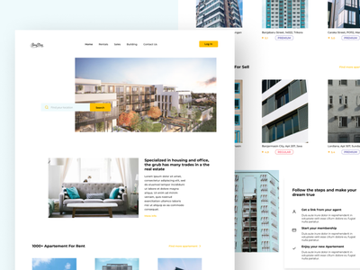 Apartement Landing Page rentals apartments dribbble creative website web ux ui minimal design