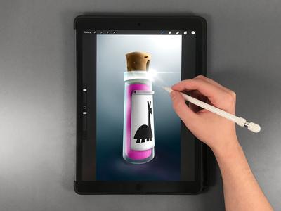 Potion Bottle Drawing on iPad Pro