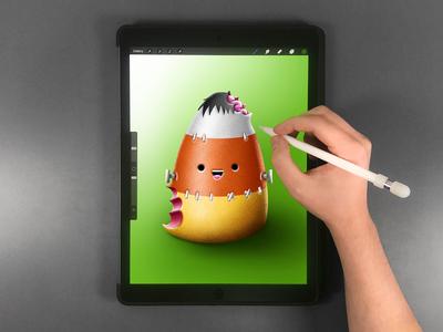 Candy Corn Drawing on iPad Pro