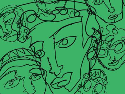 Continuous Contour Line Faces I