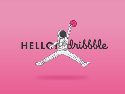 Hello Dribbble! spaceman thanks welcome shot welcome first shot illstration illstrator vector astronaut