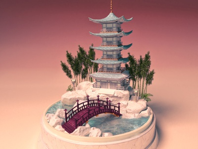 Traveling through Japan, Bridge to Pagoda best design poster water rendering travel pagoda 3d miniature snowglobe 3d set 3d animation japan