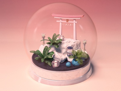 Traveling through Japan, the white Torii travel japanese lantern model miniature snowglobe 3d set 3d animation japan