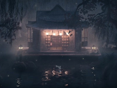 Japanese Ryokan at Night -3D 3d animation model pastel color atmospheric romantic fireflies visualization architecture set 3d design japan