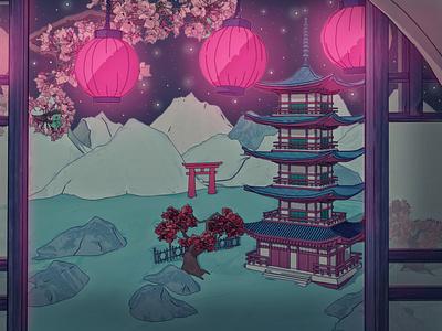 Shrine Festival at Cherry Blossom Season japanese blossom sakura cherry festival korea china shader cell render toon cartoon motion graphic japan