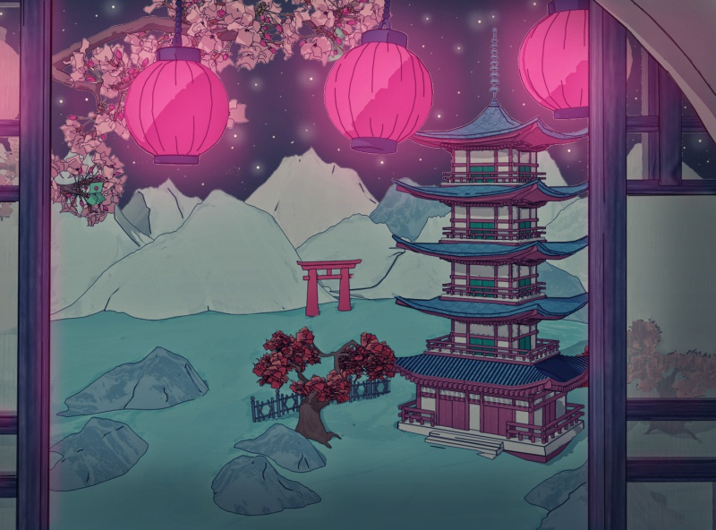Shrine Festival at Cherry Blossom Season
