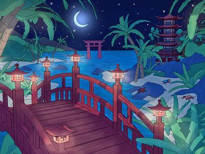 Bridge to Moonlight Island bridge culture japanese chinese new year 3d look 2d style nintendo link zelda render toon cartoon low poly game design 3d set japan