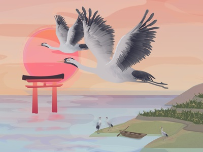 Cranes of Hamanoura chracter design mascot illustration bird ricefield field tori lake character design sunset crane motion graphic japan 2d animation 2d illustration