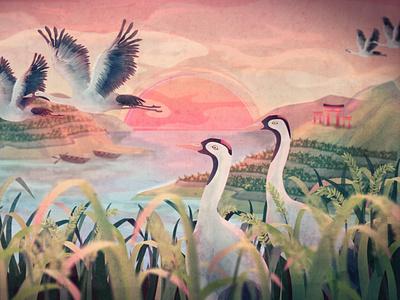 Return of the Cranes to  Hamanoura character design mascot fly bird boat ricefield lake sunrise crane sunset motion graphic japan 2d illustration 2d animation