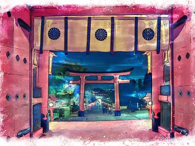 Shrine in Kyoto artwork artist painting illustration art kyoto pagoda temple asia watercolor photography aquarelle japan