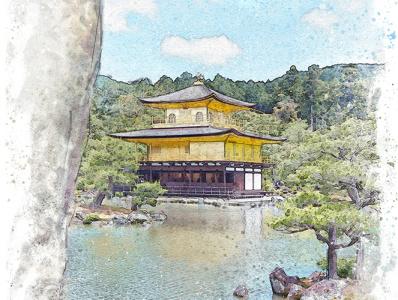 The Golden Pavillion, Kyoto painting artwork art photography mixed media aquarelle watercolor pagoda shrine temple kyoto architecture visualization illustration japan