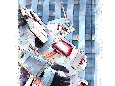 ガンダム - Gundam Statue Tokyo painting art aquarell watercolor super hero mascot character mixed media illustration japan