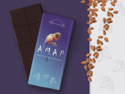AMAP-natural cocoa redesign dribbbleweeklywarmup mascot logo wrapper rainforest package design redesign chocolate dribble weekly warm-up