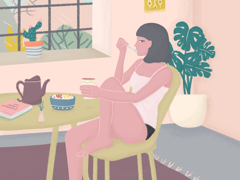 A Girl in The Morning home human editorial illustration color character woman girl plants breakfast mood morning illustration
