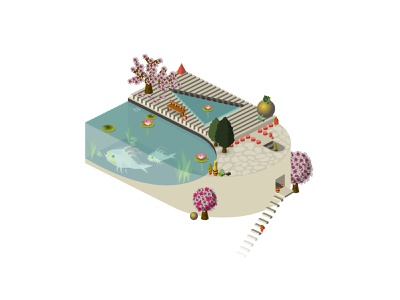 Isometric Japanese Garden weekly challenge dribbbleweeklywarmup weeklywarmup pond candle stone tree stairs sculpture japanese fish cactus plant garden architecture vector 2d icon isometric illustration