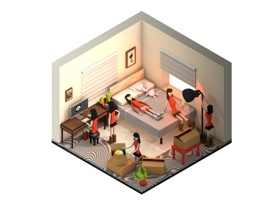 Isometric Room with Handy Girls girl rigged character simple quarantine isolation stayhome home design city cinema 4d c4d 3d ui house building architecture isometric icon illustration