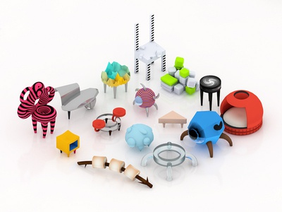 WIP Vol.3:: Abstract Chairs fun wip item home game art game industrial design furniture design cinema 4d c4d 3d relax seat chair icon ui architecture isometric illustration