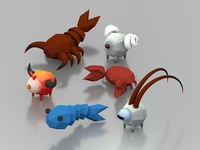 Low Poly Zodiac Crew low poly c4d cinema 4d 3d astrology sign zodiac fish scorpio ram crab cancer aries scorpion goat animal ui isometric icon illustration