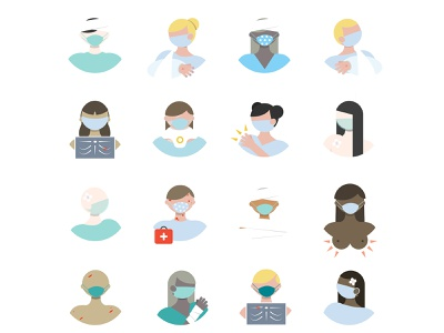 🩹Physical Injury Icons pictogram first aid sick hospital accident injury boobies medical design medical care ui healthcare physical injury face masks people illustration people icons flat icons flat icon design flat design illustrator vector flat illustration flat design