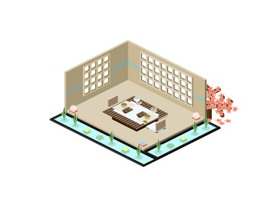 🍵Isometric Tea Room isometry ui traditional japan zen interior architecture cherry blossom garden tea japanese food japanese culture isometric tea room isometric design isometric illustration isometric icon isometric isometric art building icon isometric house