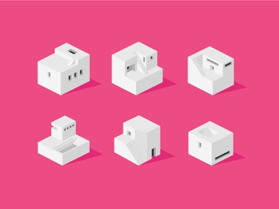 Isometric Abstract Buildings town city icon pack mock up generic architecture white house pink istock cube abstract home house isometric illustration isometric icons vector 2d isometric icon illustration