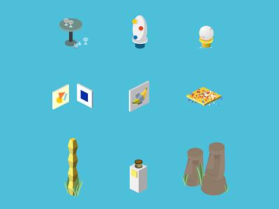 Isometric Art Icons masterpiece moai banana art exhibition art gallery icon set exhibition opening night miro blue istock yves klein endless column brancusi pollock shit artist isometric icon illustration