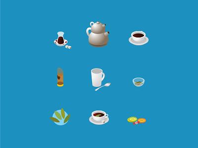 ☕ Isometric Turkish Tea Making Icon Set turkey items objects stock illustration preparation relaxation isometric icons isometric blue tea hot drink food traditional turkish tea icon set ui vector icon illustration