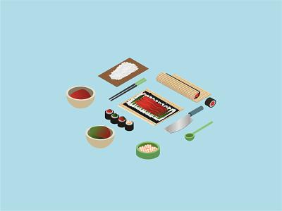 🍣 Isometric Sushi Preparation Icon Set fresh japanese curbside food delivery chopsticks bamboo roe stock illustration fish icon set make preparation food and drink food sushi ui vector isometric icon illustration