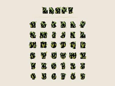"""Leafy"" Alphabet pattern stock illustration vector rounded typeface type typography flat design nature garden forest letter ui icon illustration green leaves leaf leafy alphabet"