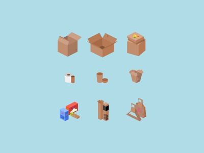 Various Cardboard Boxes 📦 stock icon set carton toilet paper pizza oyster pail gift bag recycle upcycle package cardboard box chinese food food 3d design vector isometric icon illustration