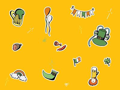 🍀 St. Patrick's Day Doodle Icon Set 🍻 food beer sticker design sticker sketch funny irish saint patricks day st. patrick st. patricks day yellow doodle stock illustration icon set cute design vector 2d icon illustration