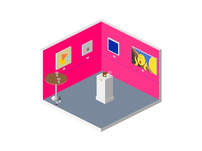 Artist's 💩 Show pink scream funny wine night reception exhibition show gallery art interior shit artist building architecture design vector 2d isometric illustration