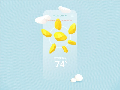 ☀️ Weather App screen simple sun low poly c4d cinema4d iphone app mobile application weather weather icon weather app sunny ui 3d design vector 2d icon illustration